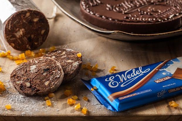 Salami czekoladowe z bakaliami