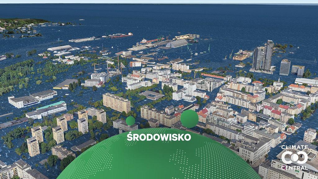 Wizualizacja skutków podniesienia poziomu morza w Gdyni