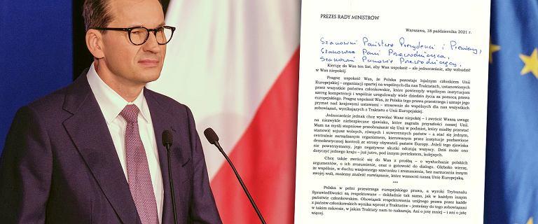 """List Morawieckiego do unijnych przywódców. """"Chcę wywołać wasz niepokój"""""""