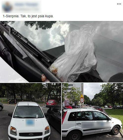 Psie odchody za wycieraczką nieprawidłowo zaparkowanego samochodu