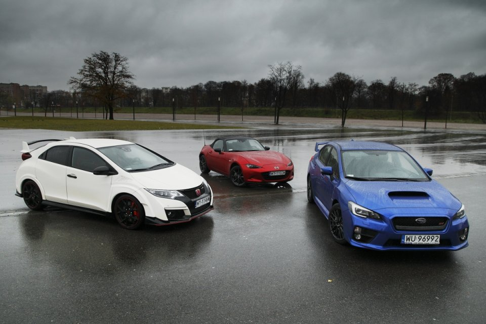 Honda Civic Type R vs Subaru WRX STI vs Mazda MX-5   Sposób