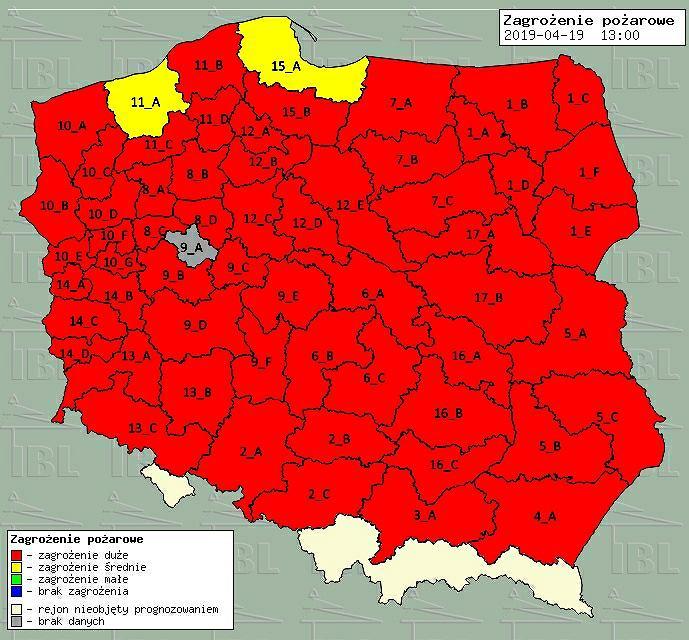 Mapa zagrożenia pożarowego 19.02.2019