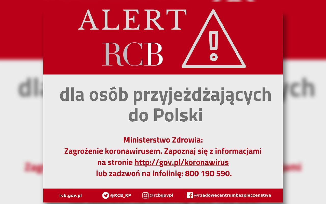 RCB wysyła powiadomienia SMS.