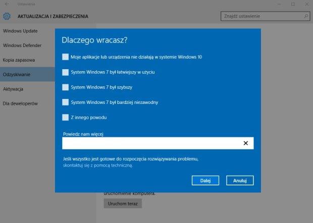 Powrót do Windows 8.1 z Windows 10