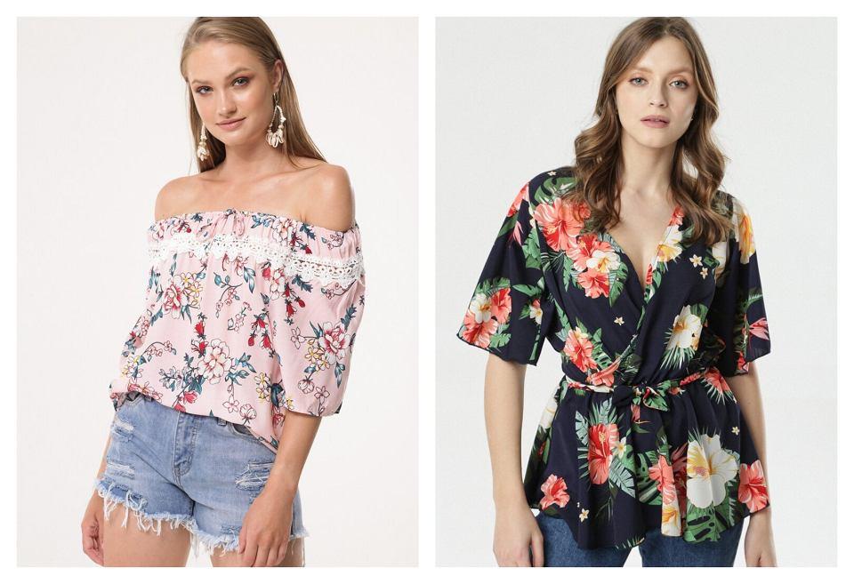 bluzki w tropikalne wzory