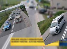 Kolizja SOP. Bus wyprzedzał lewą stroną wysepki, uderzył w tył minivana z rodziną w środku