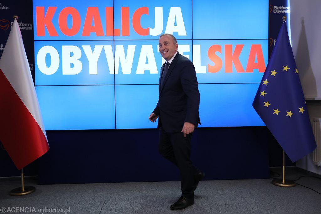 Grzegorz Schetyna podczas konferencji w Sejmie. Ogłasza, że PO pójdzei do wyborów samo. Warszawa, 17 lipca 2019