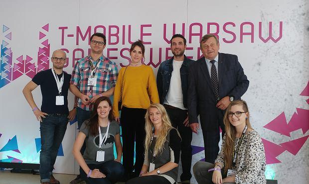 Olga Bołądź, Marcin Dorociński, Mirosław Hermaszewski, przedstawiciele Activision oraz CDP.pl na T-Mobile Warsaw Games Week 2016