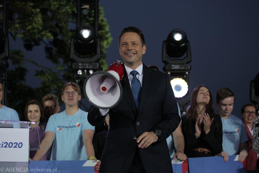 Wybory prezydenckie 2020, druga tura. Wieczór wyborczy Rafała Trzaskowskiego. Warszawa, 12 lutego 2020