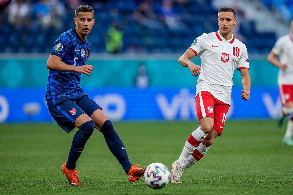 Lubomir Šatka podczas meczu Polska - Słowacja na Euro 2020