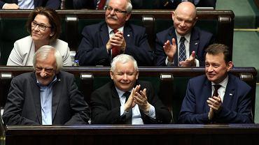 Jarosław Kaczyński w ławach sejmowych PiS