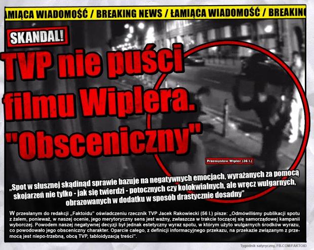 Łamiąca wiadomość: TVP nie pokaże filmu Wiplera -  - Faktoid