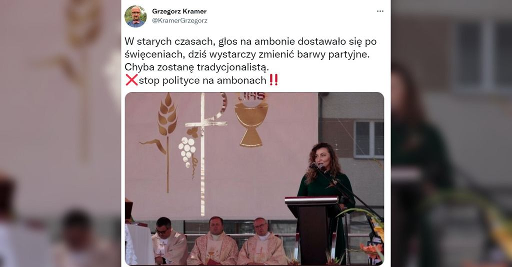 Posłanka Monika Pawłowska krytykowana za przemawianie z ambony