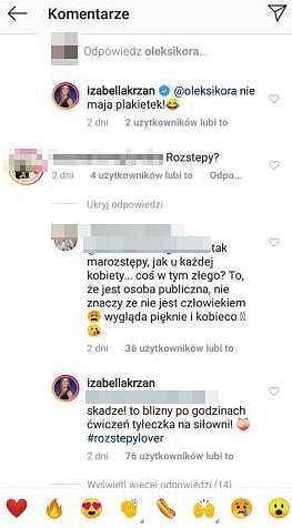 screen z profilu Izabelli Krzan