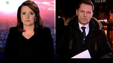 Kadr z poniedziałkowego wydania Wiadomości TVP