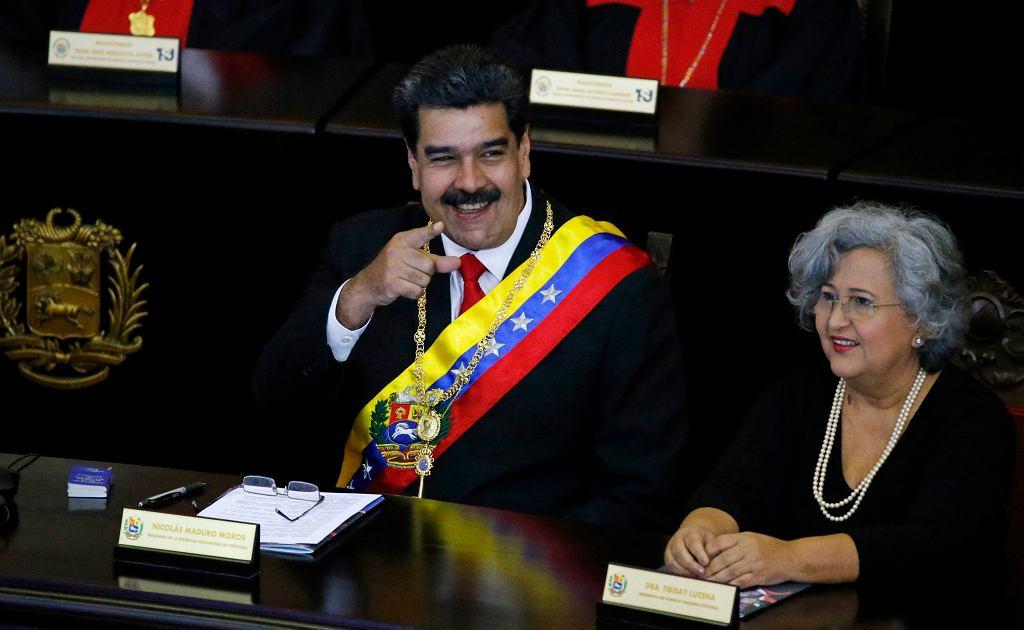 24.01.2019, Caracas, Wenezuela, Nicolas Maduro podczas dorocznej ceremonii rozpoczęcia roku sądowego w Sądzie Najwyższym.