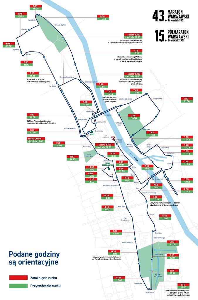Mapa 43. Maratonu Warszawskiego