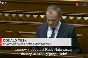 """""""Nie ma Europy bez Ukrainy"""". Donald Tusk w Radzie Najwyższej w piątą rocznicę Euromajdanu"""