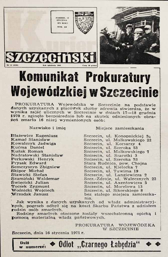 Informacja o ofiarach pacyfikacji demonstracji w Szczecinie, za które odpowiadał bezpośrednio lokalny szef MO podpułkownik Julian Urantówka