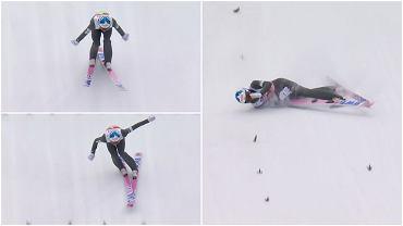 Upadek Eetu Nousiainena podczas konkursu na normalnej skoczni w Oberstdorfie