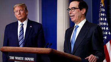 Prezydent USA Donald Trump i sekretarz skarbu Steven Mnuchin
