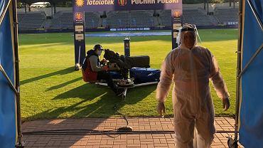 Na stadionie w Legnicy przed meczem Miedzi z   Legią Warszawa