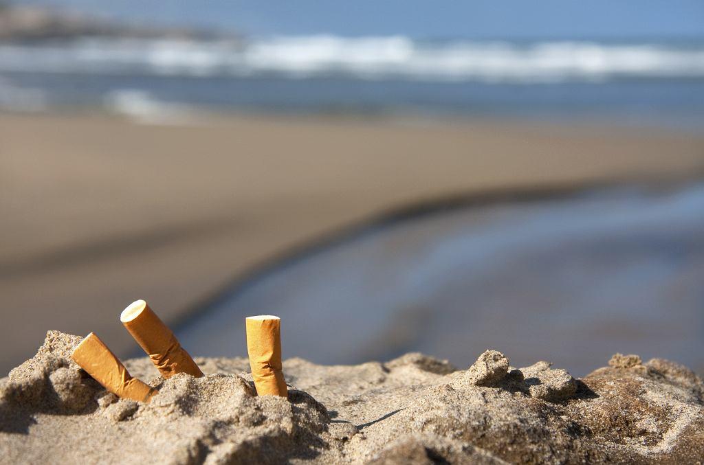 Plaża bez peta. Niedopałki na plaży