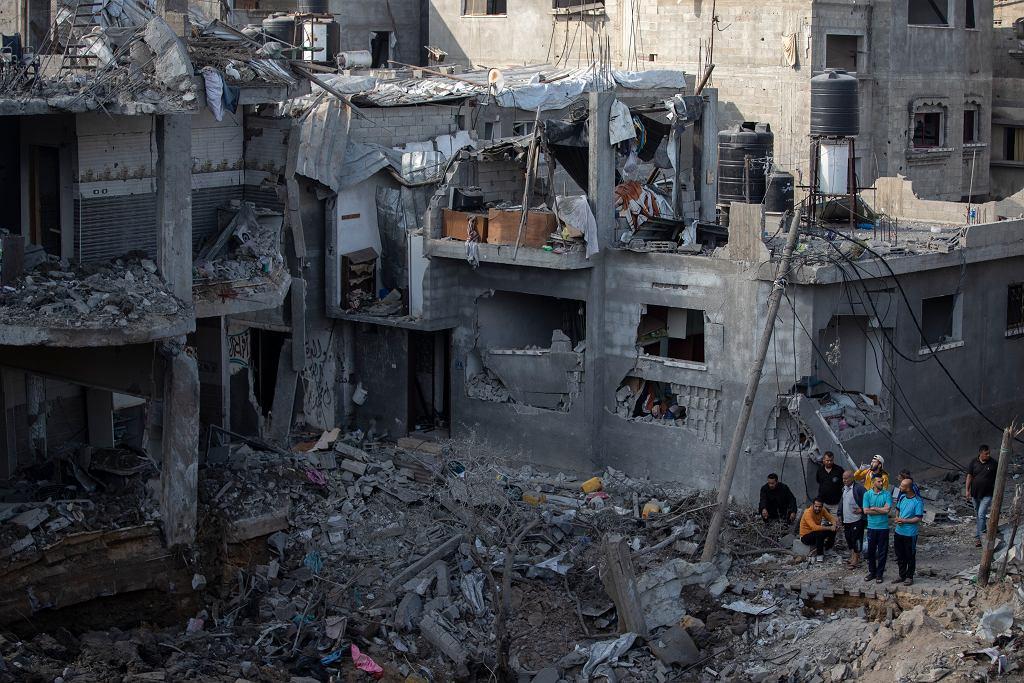 Domy w Gazie zniszczone po bombardowaniu