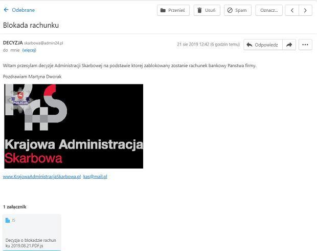 Przykładowy mail wysyłany przez oszustów