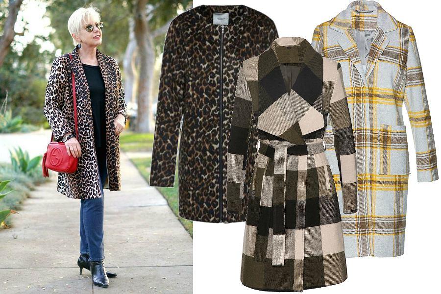 Wzorzyste płaszcze na jesień dla dojrzałych kobiet