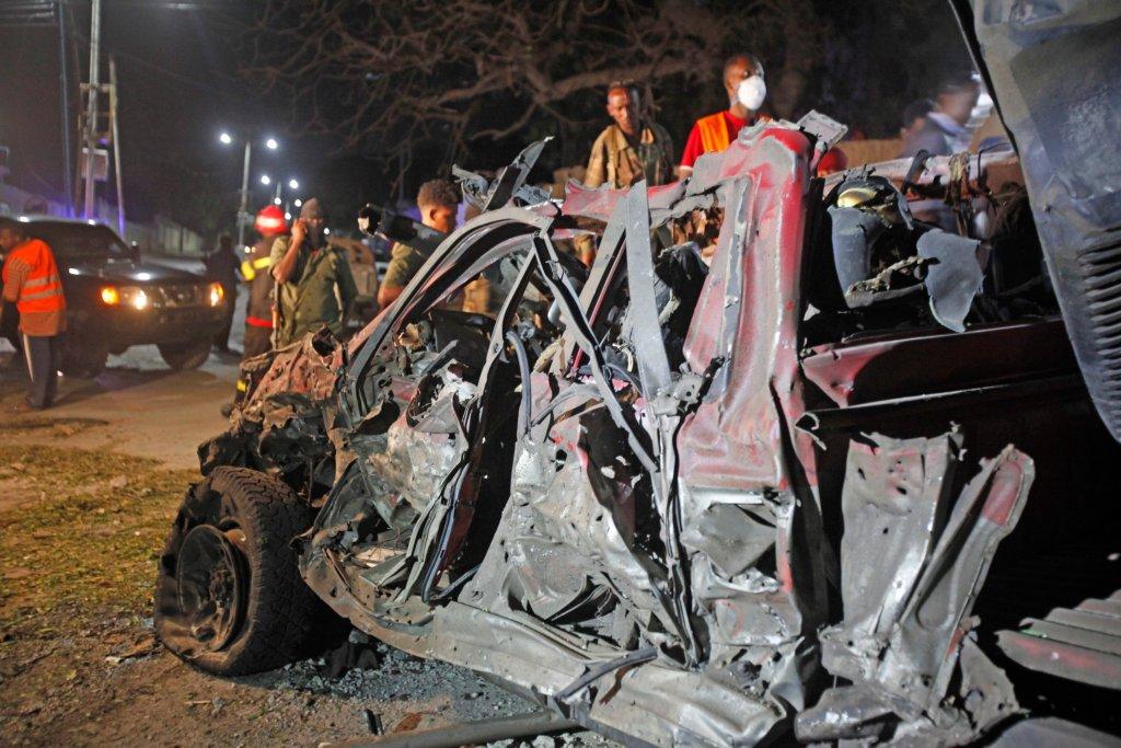 Miejsce, w którym w poniedziałek doszło do zamachu w Mogadiszu, stolicy Somalii