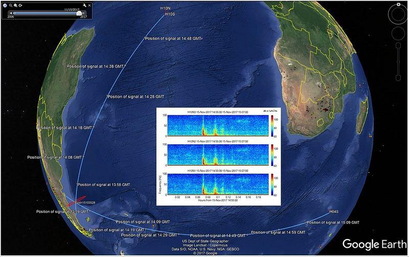 Zapis dźwięku i jego lokalizacja wykryta przez hydrofony CTBTO