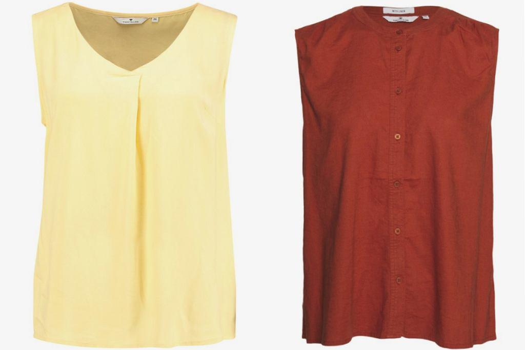 Bluzki bez rękawów dla kobiet po 50-tce: modele z dekoltem lub bez