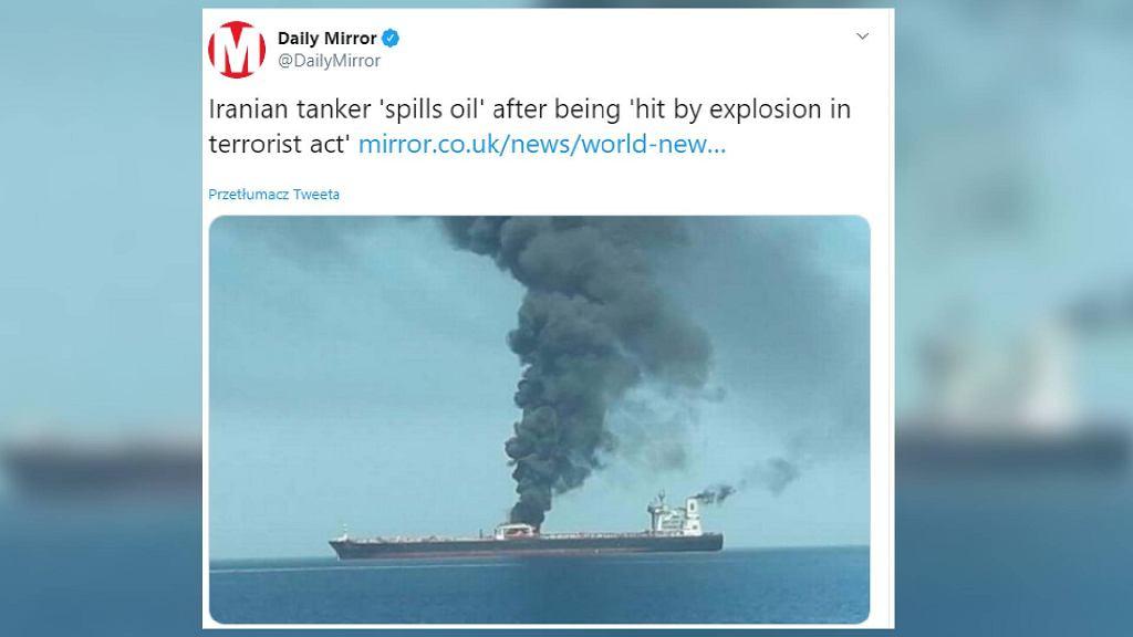 Eksplozja na irańskim statku.
