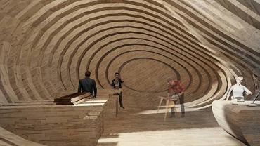 Fragment projektu Marii Bardy 'Drewno działa(ń) - Centrum Warsztatowe, Sztokholm'