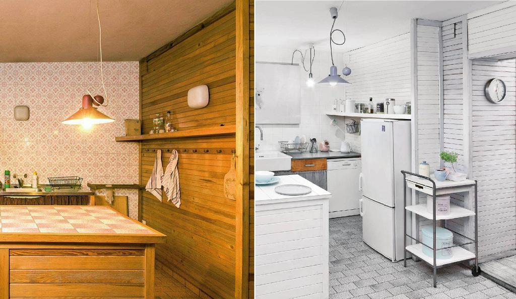 Metamorfoza kuchni: przed pomalowaniem starej boazerii i po