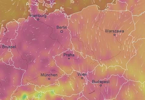 Temperatury w Niemczech według portalu Ventusky wahają się między 30 a 40 stopni Celsjusza.