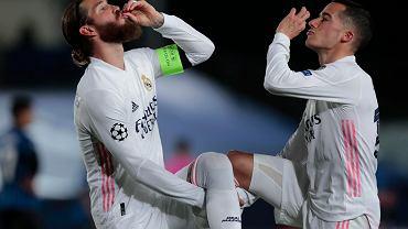Real Madryt - Atalanta Bergamo. Sergio Ramos i Lucas Vasquez świętują gola na 2:0