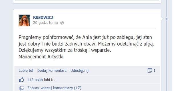 wpis z Facebooka Ani Rusowicz