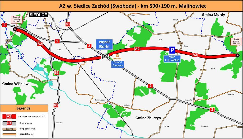 Autostrada A2, Siedlce Zachód - Malinowiec