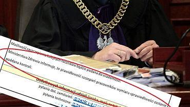 Pismo skierowane do szpitali, w którym Ministerstwo Zdrowia informuje o zakazie szczepienia sędziów
