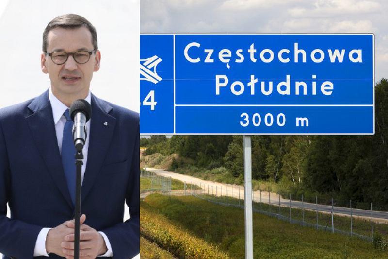Premier Mateusz Morawiecki podczas otwarcia nowego odcinka autostrady A1
