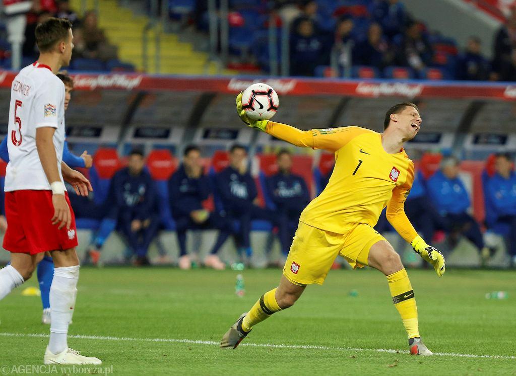 Wojciech Szczęsny podczas meczu Polska - Włochy. Chorzów, Stadion Śląski, 14 października 2018