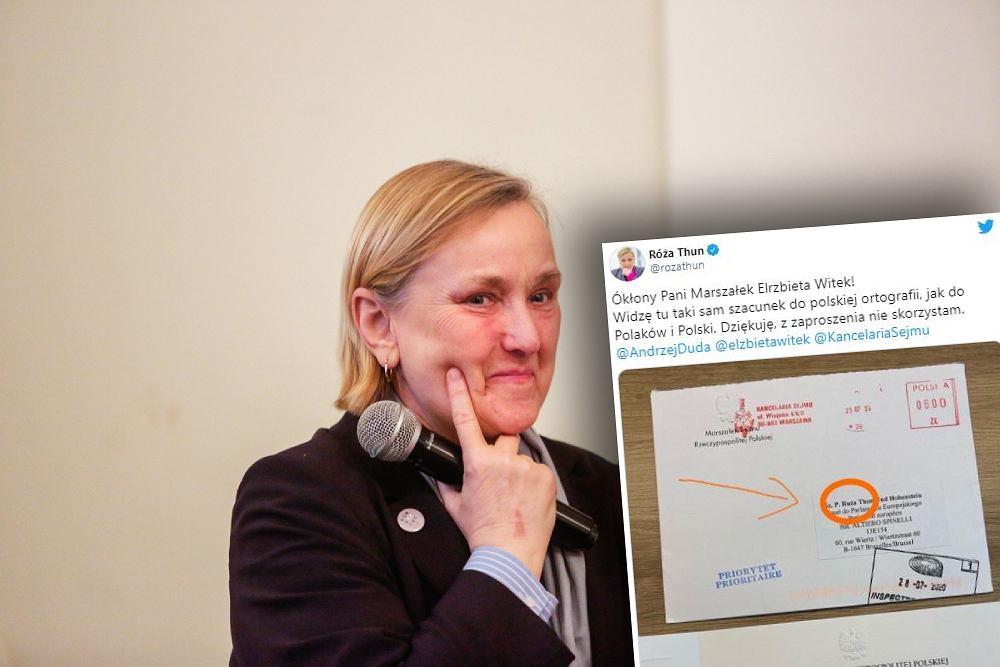 Róża Thun otrzymała od Sejmu zaproszenie z błędem ortograficznym