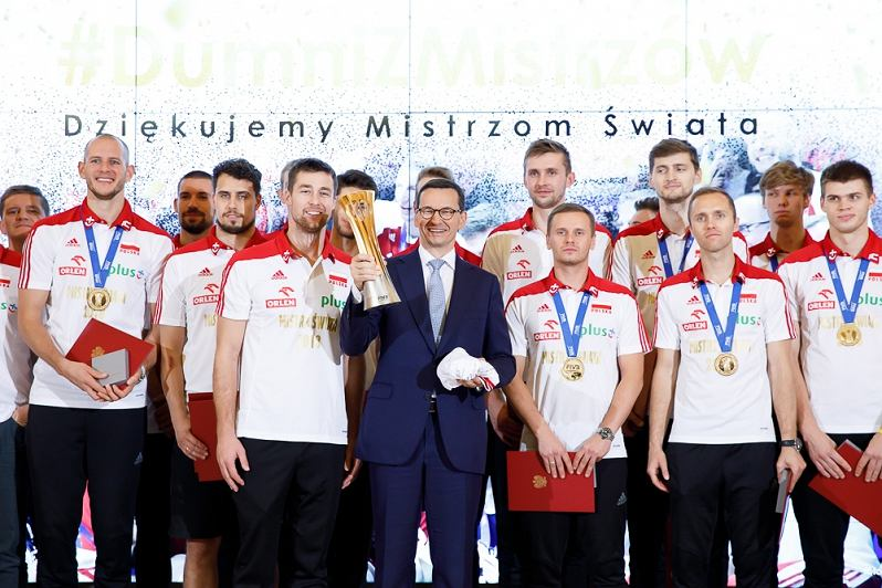 Spotkanie premiera Mateusza Morawieckiego z Mistrzami Świata w Piłce Siatkowej Mężczyzn