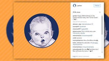 Dziecko z etykiet produktów Gerber