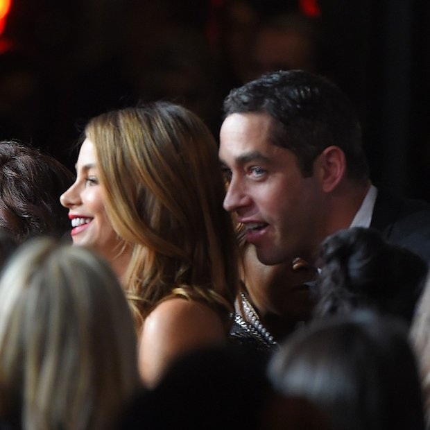 zEXCLUSIVE: Nick Loeb whispers in Sofia Vergaras ear at The Angel Ball Red Carpet.   Pictured: Sofia Vergara and Nick Loeb