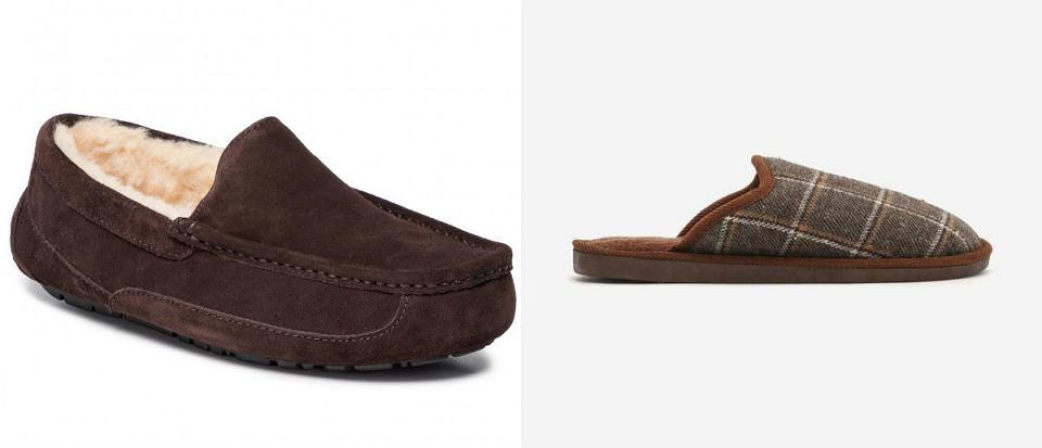 pantofle męskie brązowe