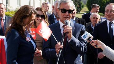 18 maja 2015 r. Andrzej Biernat podczas wiecu poparcia dla Bronisława Komorowskiego