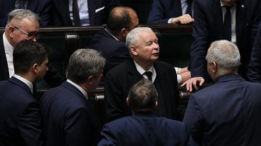 Jarosław Kaczyński podczas 74. posiedzenia Sejmu VIII kadencji.